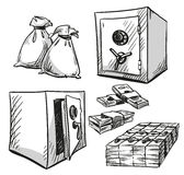 Set of safes drawings. Money, Cash Royalty Free Stock Image