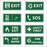 Set of safety emergency exit Sign vector Stock Images