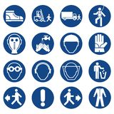 Set of safety equipment signs. Mandatory construction and industry signs. Collection of safety and health protection equipment. Pr stock illustration