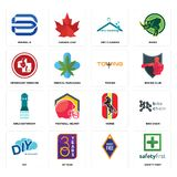 Set of safety first, , diy, horse, girls bathroom, towing, veterinary medicine, dry cleaning, minimal b icons. Set Of 16 simple  icons such as safety first, , 30 Stock Photography