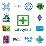 Set of safety first, medical marijuana, 100 year anniversary, bike chain, 30 year, 20 50 years, camper icons. Set Of 13 simple  icons such as safety first Stock Photo