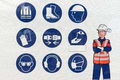 Set of safety and health protection signs. Collection of safety equipment royalty free stock photography