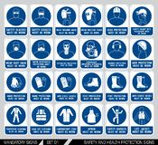 Set of safety and health protection signs. Royalty Free Stock Photos
