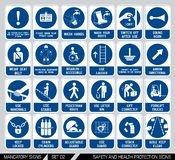 Set of safety and health protection signs. Stock Images
