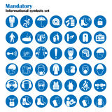 Set of safety and health protection signs. Mandatory construction and industry signs. Collection of safety equipment. Protection on work. Vector illustration royalty free illustration