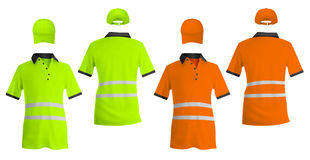 Safety reflective polo shirts and hats. Stock Images