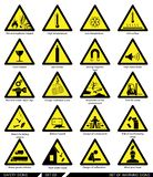 Set of safety signs. Caution signs. Collection of warning signs. Vector illustration. Signs of danger. Signs of alerts Stock Image
