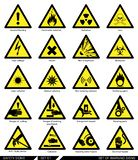 Set of safety signs. Caution signs. Stock Images