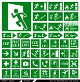 Set of safety signs. Exit signs. Set of emergency exit signs. Collection of warning signs. Vector illustration. Signs of danger. Signs of alerts Stock Photos
