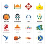 Set of sagittarius, hot rod, colibri, kids club, 60th anniversary, omega, bengal tiger, fire station, med icons. Set Of 16 simple editable icons such as Stock Images