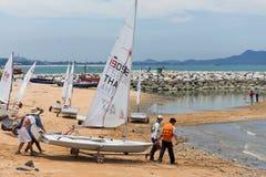 Set sail thier boats Stock Photos