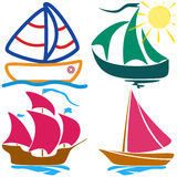 Set sailboat childlike drawing Royalty Free Stock Photography