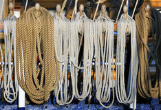 Sailboat ropes on the horns of ship Stock Image