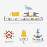 Set of sailing boat and nautical logos. Stock Images