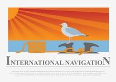 Set of sailing boat and nautical logos. Royalty Free Stock Photography