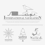 Set of sailing boat and nautical logos. Stock Image