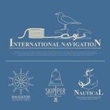 Set of sailing boat and nautical logos. Stock Photos