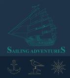 Set of sailing boat and nautical logos. Royalty Free Stock Photos