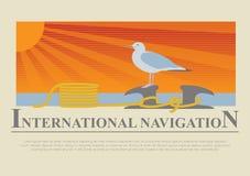 Set of sailing boat and nautical logos. Royalty Free Stock Image