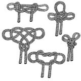 Set of sailing knots hand drawn. Object isolated on white Stock Photo