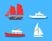 Set of Sailing And Motor Vessels Vector Icons. Set of various civil sailing and motor vessels icons. Asian junk ship sailing with speed modern boats isolated royalty free illustration