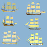 Set of sailing ships. Battleship, frigate, brig caravel corvette galleon stock illustration