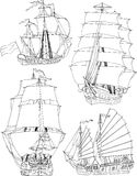 Set with sailing ships Royalty Free Stock Photos