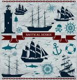 Set of sailing ships with nautical design elements Stock Images