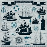 Set of sailing ships with nautical elements. Royalty Free Stock Image