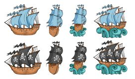 Set of sailing ships and sailboat. Commercial sailboats isolated on white background. Pirating sailboat ship with black sails. Ship on the waves. Vector stock illustration