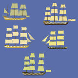 Set of sailing ships. Vector illustration Stock Photo