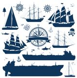 Set of sailing ships, yachts and tankers. Set of fully rigged sailing ships, yachts and oil tankers silhouettes isolated on white background. Nautical design Royalty Free Stock Images