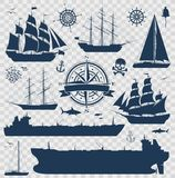 Set of sailing ships, yachts and tankers. Set of fully rigged sailing ships, yachts and oil tankers silhouettes isolated on transparent background. Nautical royalty free illustration
