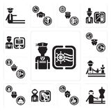 Set of Sailor, Dressmaker, Clown, Spaceman, Concierge, Gardener, Firefighter, Policeman, Programmer icons. Set Of 13 simple editable icons such as Sailor Stock Image