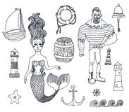 Set with sailor, lighthouse, mermaid, ship and. Hand drawn sea icons cartoon set with sailor, lighthouse, mermaid, ship and other Royalty Free Stock Photos