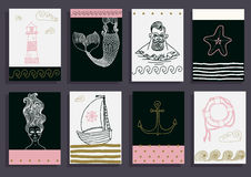Set with sailor, lighthouse, mermaid, ship and other. Stock Image