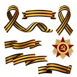 Set of Saint George ribbons and Order of Red Star. Symbols of 9 May, Victory day Russian national holiday, vector illustration isolated in white background Stock Images
