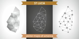 Saint Lucia collection of vector design modern maps, gray and black and silver dot contour mosaic 3d map. Set of Saint Lucia polygonal mosaic modern maps Stock Images
