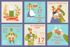 Set of Saint Patrick's Day vector greeting and invitation cards with happy people holding beer mugs. Colorful cartoon characters stock illustration
