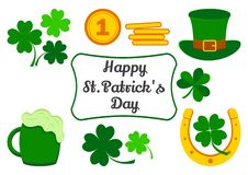 Set for Saint Patrick`s Day. Symbols of holiday. Clover, coins, hat, horseshoe, beer. Vector vector illustration