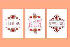 Set of Saint Valentines day hand drawn greeting cards. Royalty Free Stock Photo