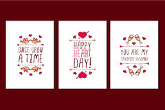Set of Saint Valentines day hand drawn greeting cards. Stock Image