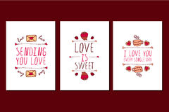 Set of Saint Valentines day hand drawn greeting cards. Royalty Free Stock Photos