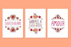 Set of Saint Valentines day hand drawn greeting cards. Royalty Free Stock Photography