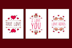 Set of Saint Valentines day hand drawn greeting cards. Stock Photo