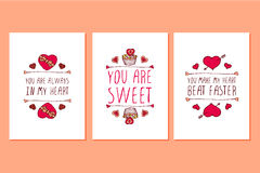 Set of Saint Valentines day hand drawn greeting cards. Stock Photography