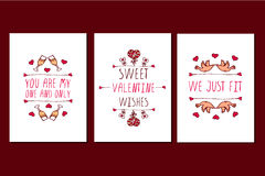Set of Saint Valentines day hand drawn greeting cards. Royalty Free Stock Images