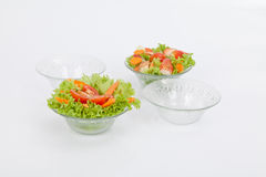 Set salad bowl in glass Stock Images