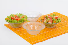 Set salad bowl in glass Stock Photography