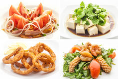 Set with salads on white background Stock Image